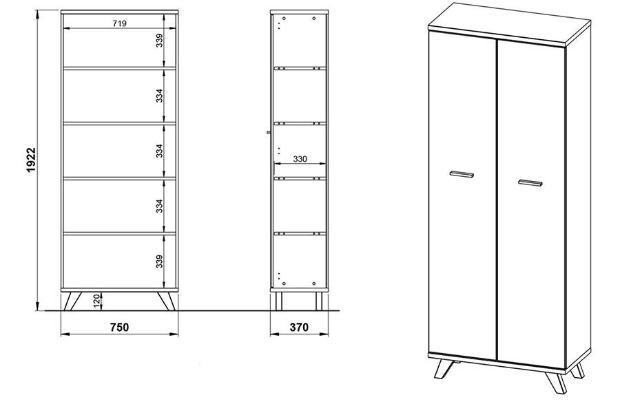 Armoire de classement dossier blanc et bois