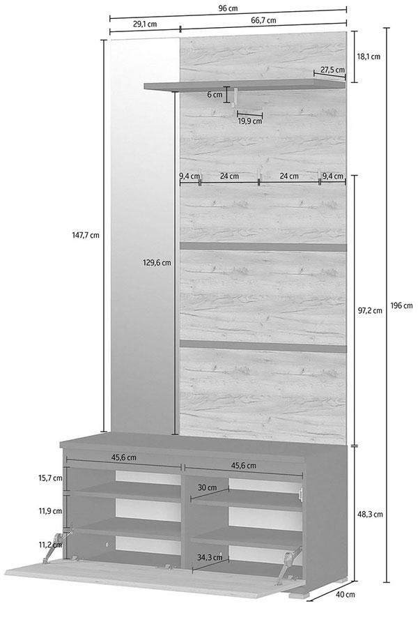 Armoire vestibule bois et gris
