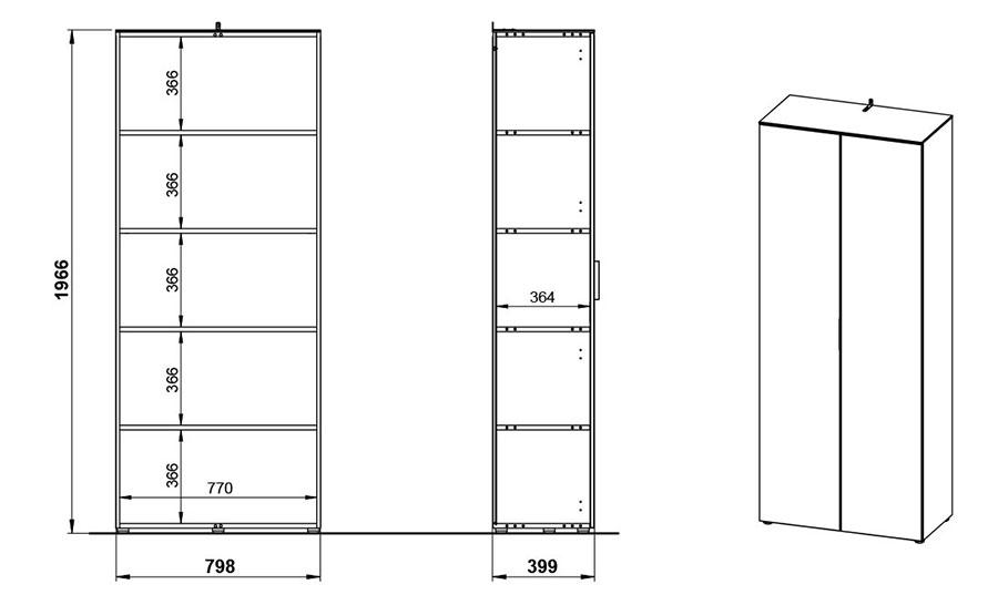Dimensions de l'armoire de bureau