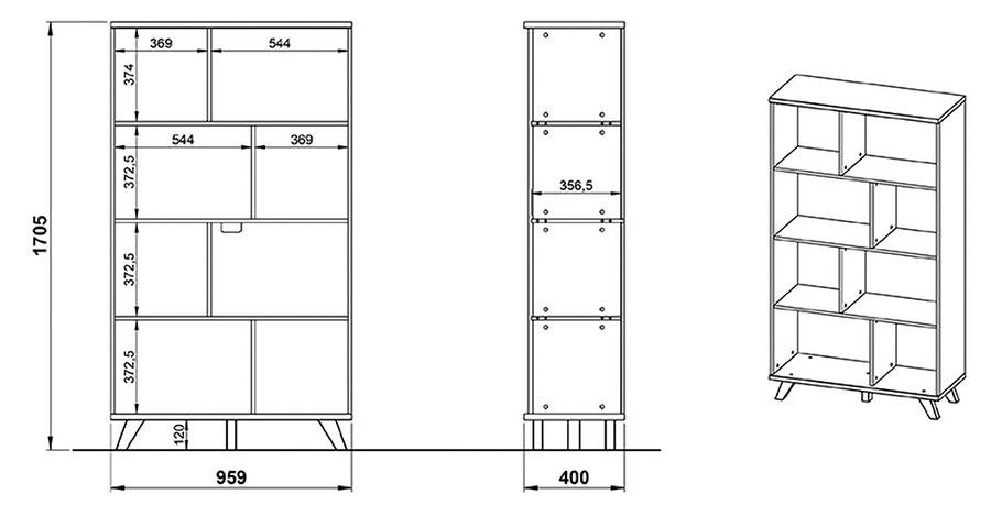 Détail des dimensions du meuble étagère blanc et bois