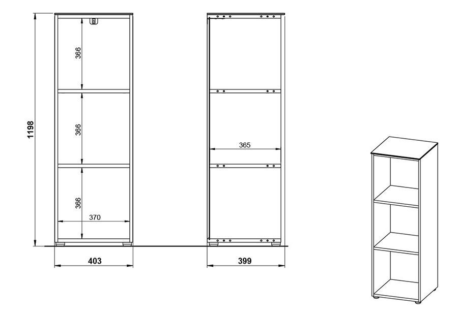 dimensions de l'étagère de bureau