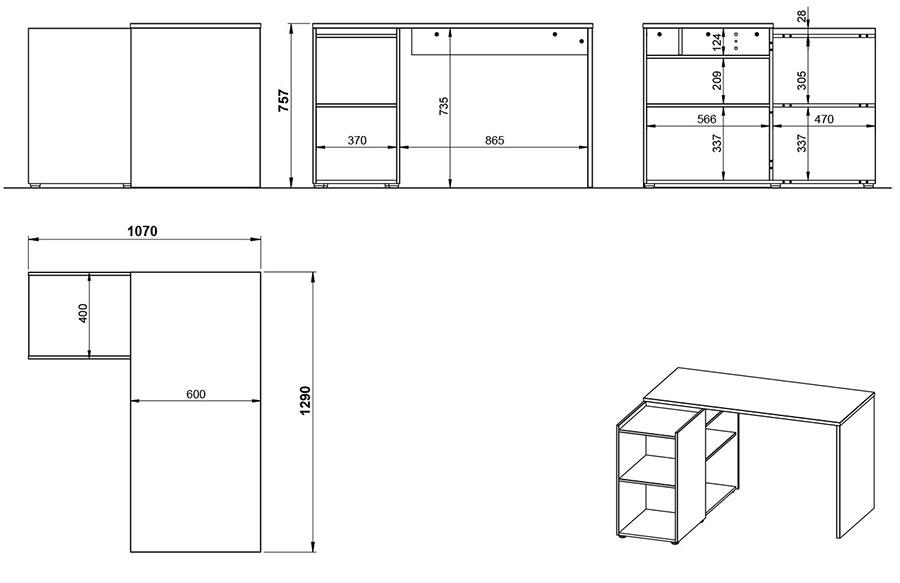 dimensions détaillées du bureau d'angle