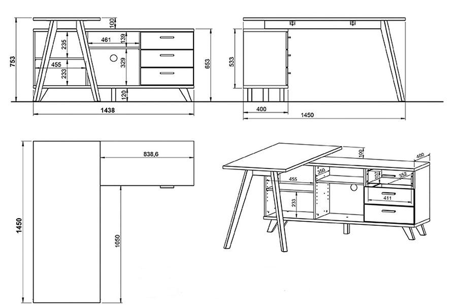 Dimensions du bureau d'angle