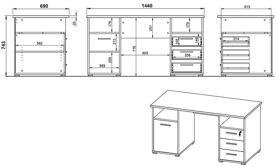 dimensions du bureau en bois