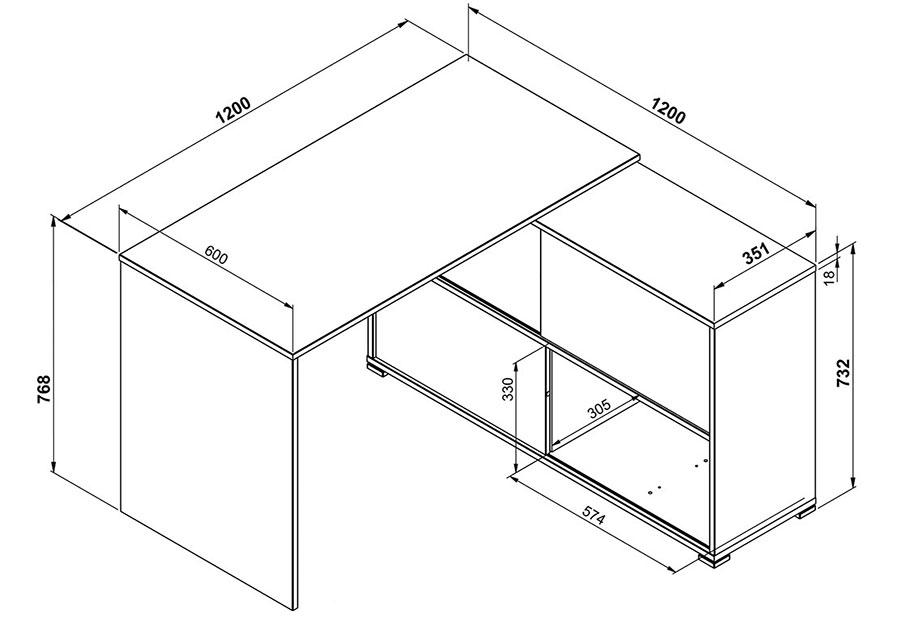 dimensions du bureau moderne