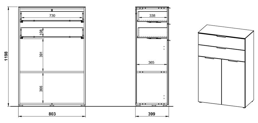 Dimensions du meuble de classement