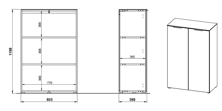 dimensions du meuble de bureau