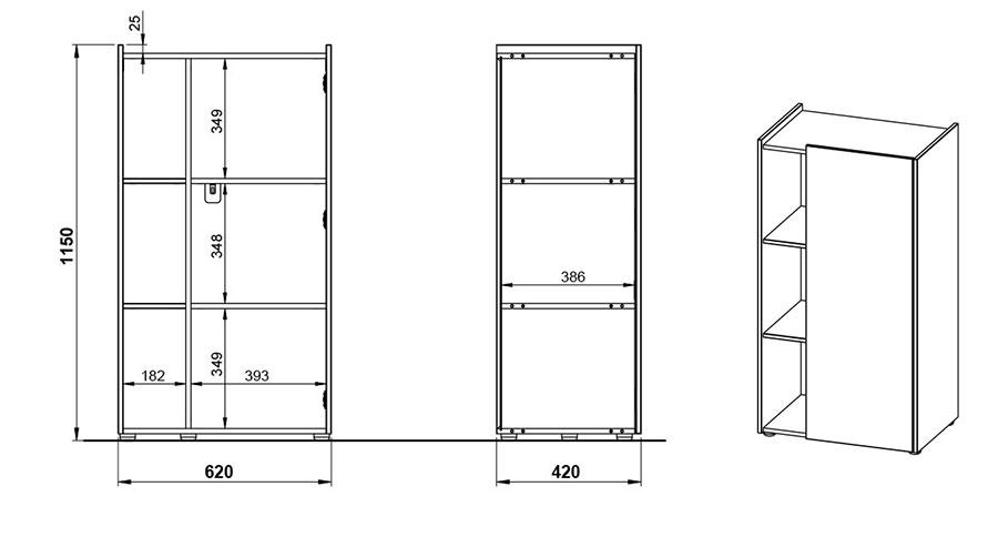dimensions du meuble de rangement