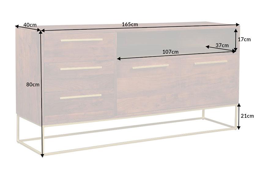 Buffet design rétro bois marron 1m65
