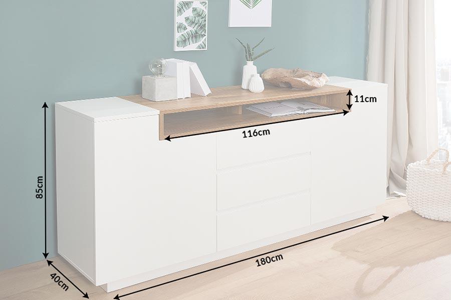 Buffet design chene et blanc