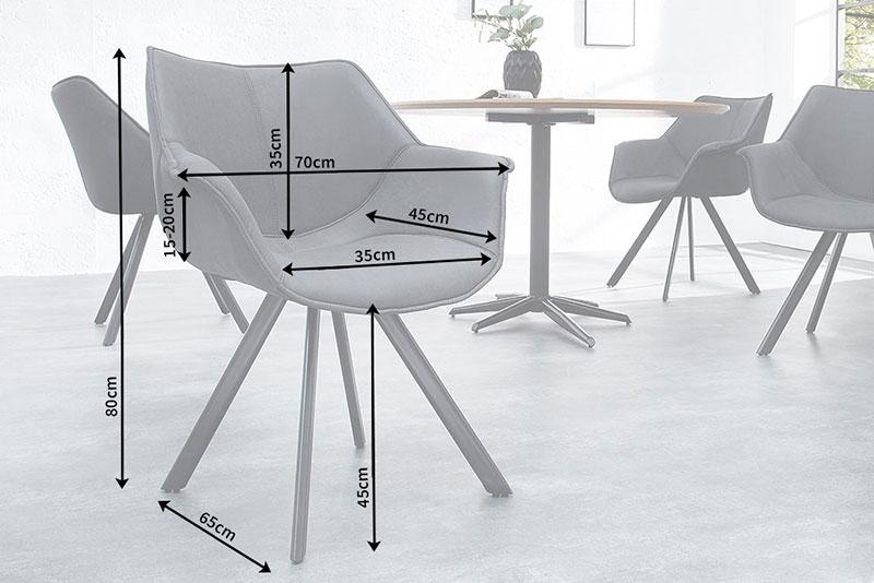 Chaise microfibre gris avec accoudoirs