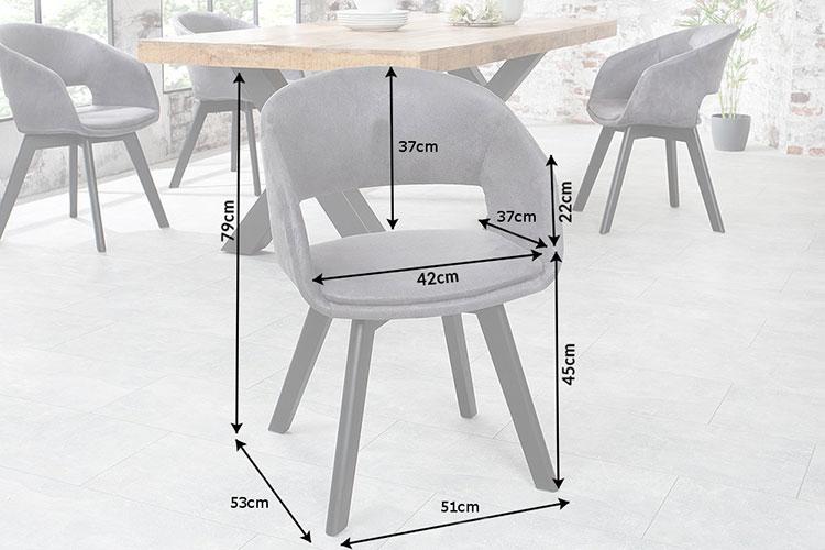 Chaise grise avec accoudoirs vintage