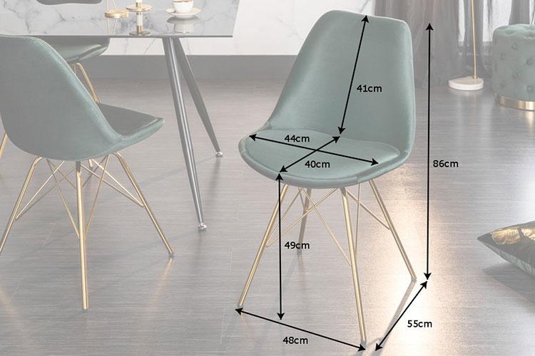 chaise rétro pas cher velours vert et métal doré