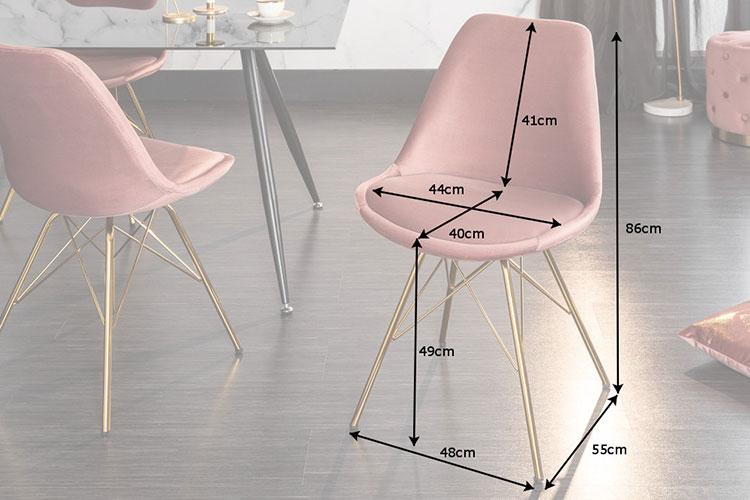Chaise velours rose et pied métal doré