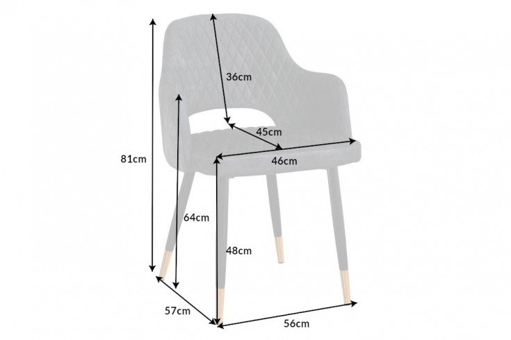 Détail de la chaise en velours gris
