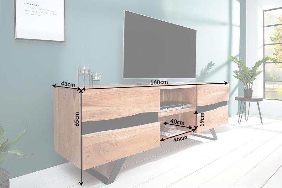 Détail du banc tv acacia bois massif