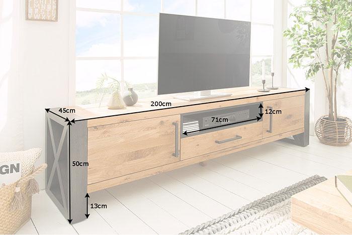 Meuble tv bois et métal 2m