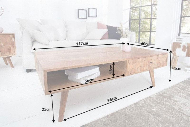 Dimensions détaillées de la table basse