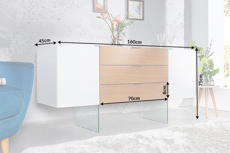 Dimensions détaillées du buffet design