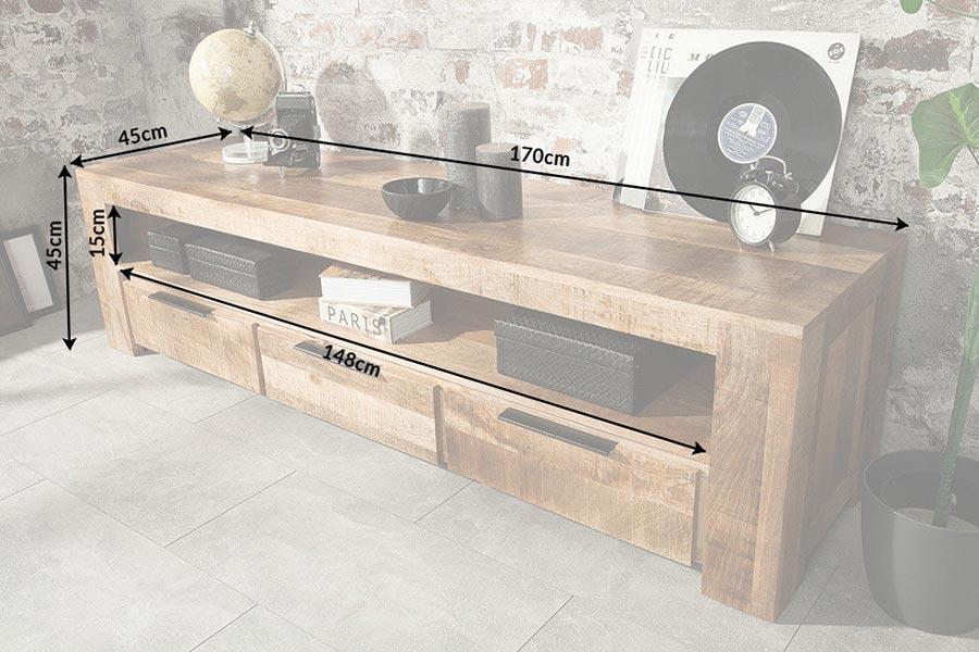 Meuble tv bois massif 170 cm