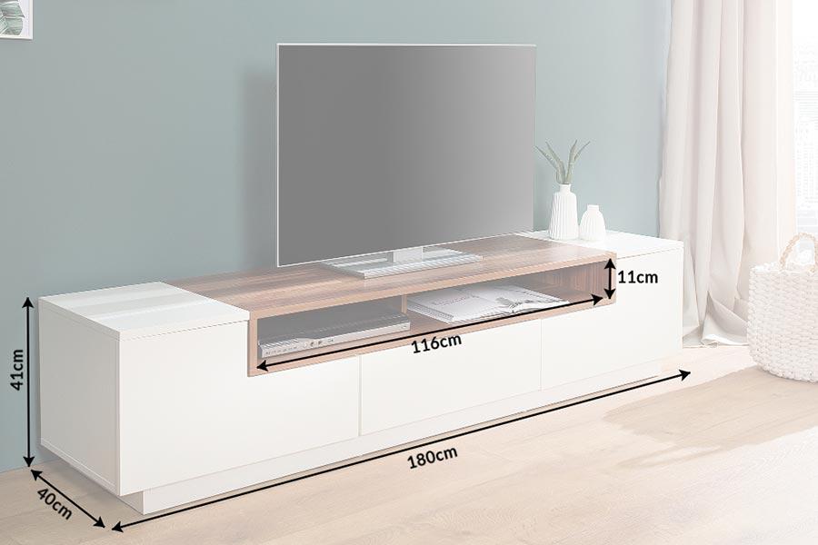 Meuble tv design blanc et noyer