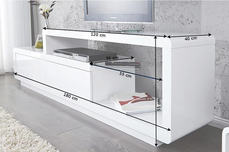 Meuble tv design blanc à led