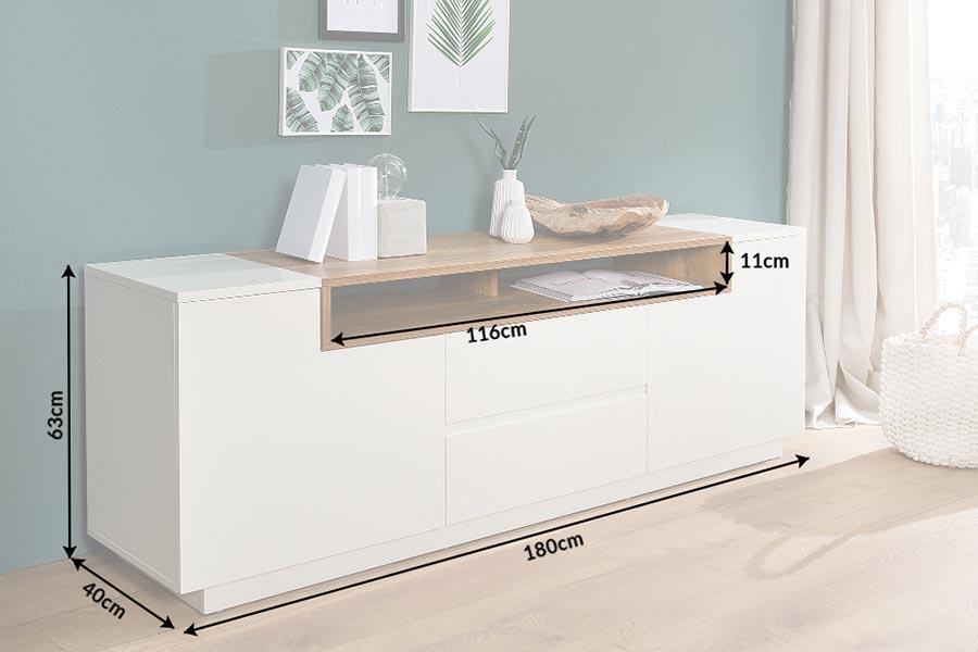 Meuble tv hifi design blanc et bois