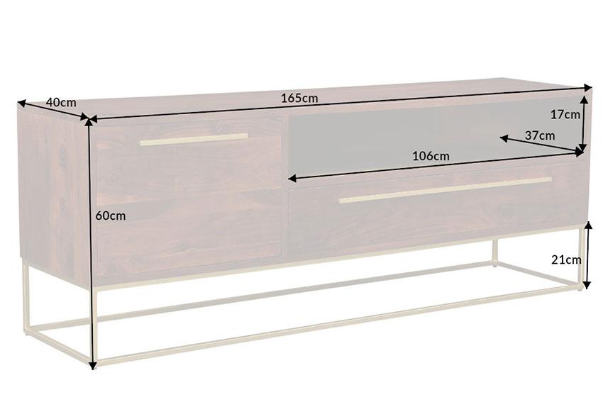 Meuble tv bois massif acacia 165 cm