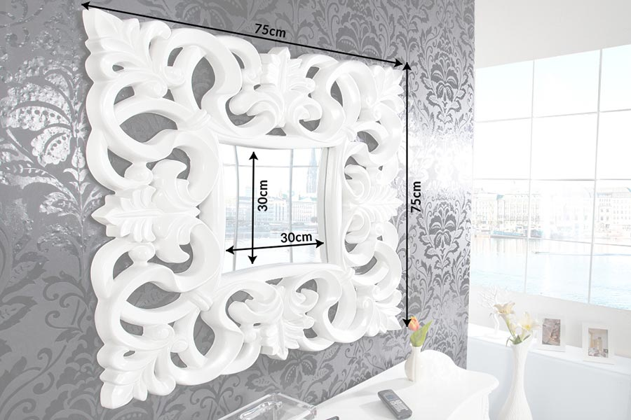 Miroir mural carré blanc