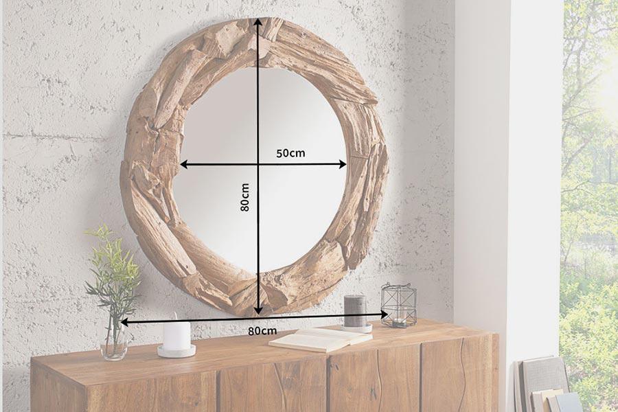 Miroir rond en bois massif