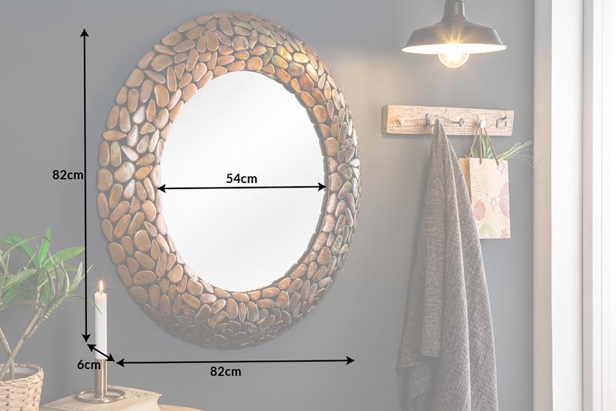 Miroir rond design marron cuivré