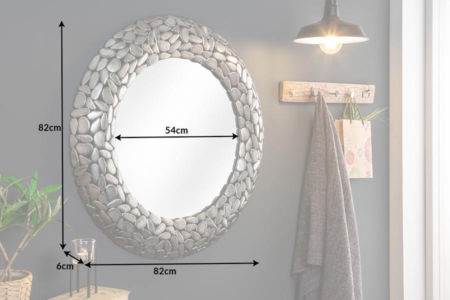 Miroir rond décoratif argenté