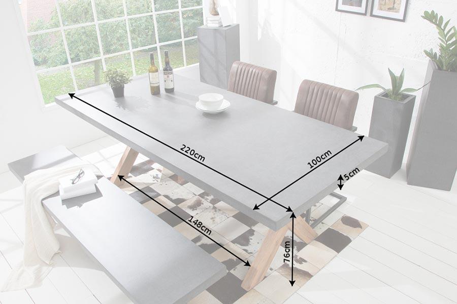 Table à manger effet béton 2m20
