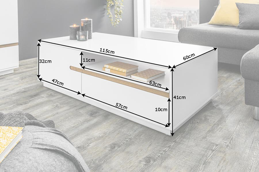 Table basse design blanche et chêne