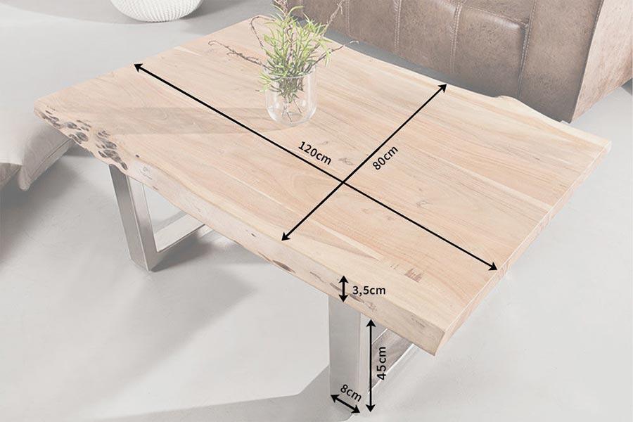 Table basse bois et chrome