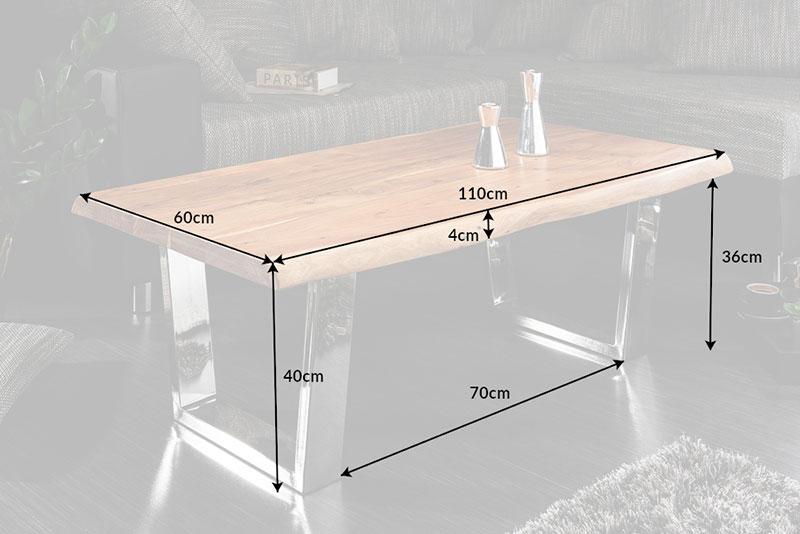 Table basse bois massif et acier