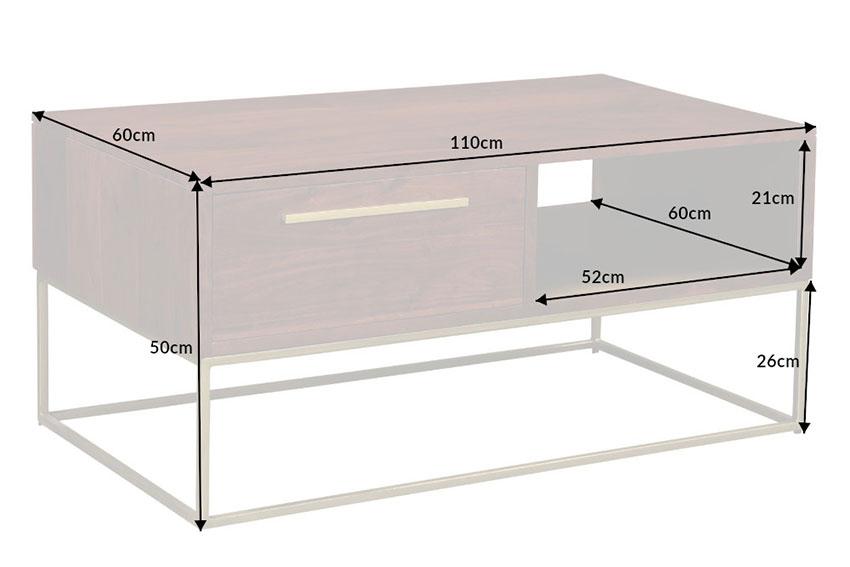 table basse rectangulaire bois massif acacia 1m10