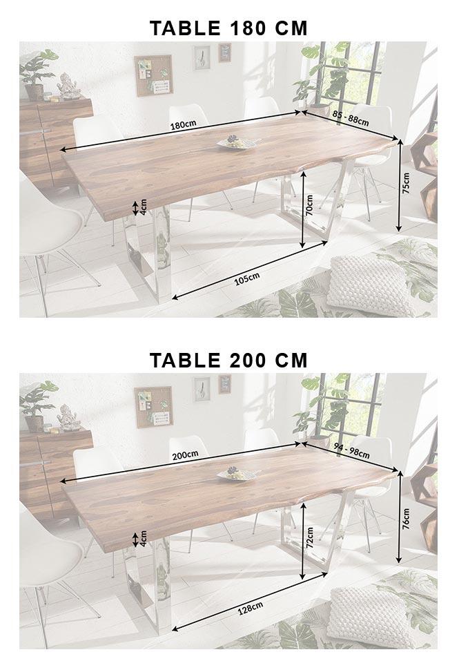 Dimensions détaillées des tables en bois massif