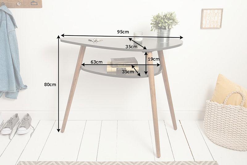 Table console scandinave grise et bois
