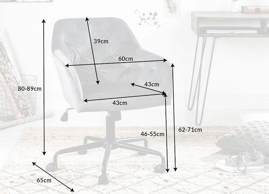 chaise de bureau en velours gris