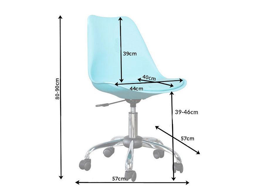 chaise de bureau bleu pivotante sur roulettes