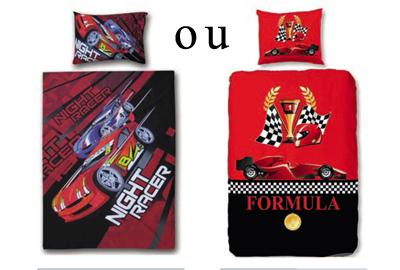 Lit voiture formule 1 rouge ou bleu 90x200 cm phares - Housse de couette voiture de course ...