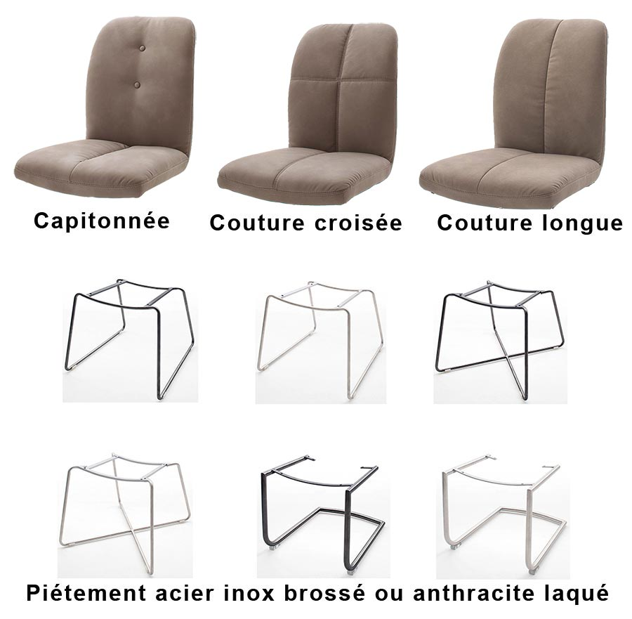 Chaise cuir synthétique marron