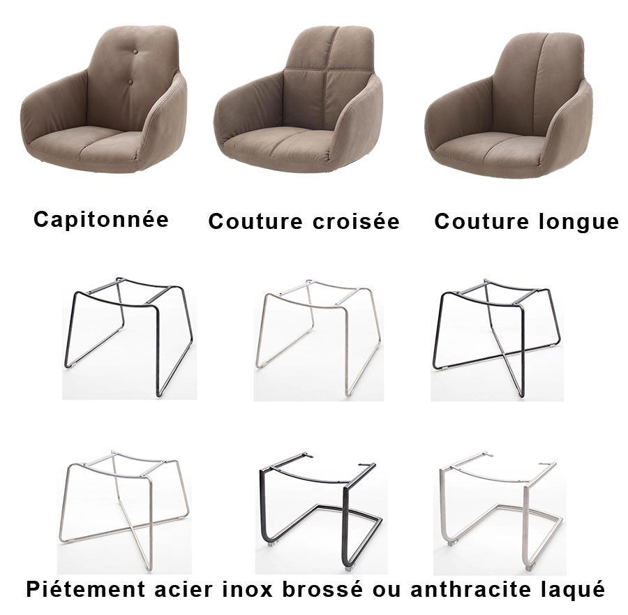 chaise avec accoudoirs marron