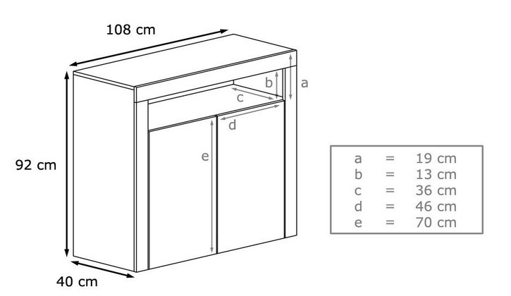 Dimensions de la commode design