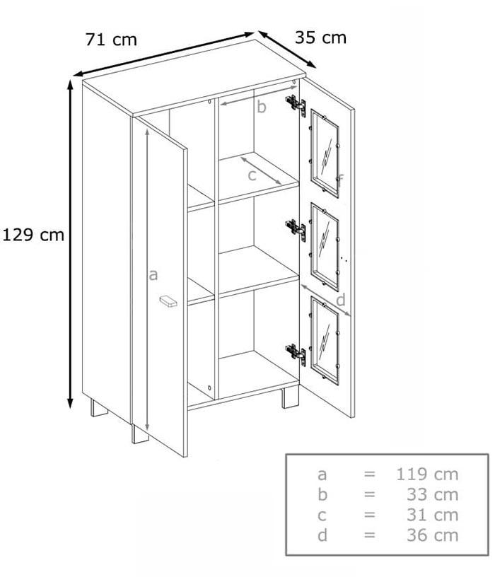 Vitrine basse avec dimensions détaillées
