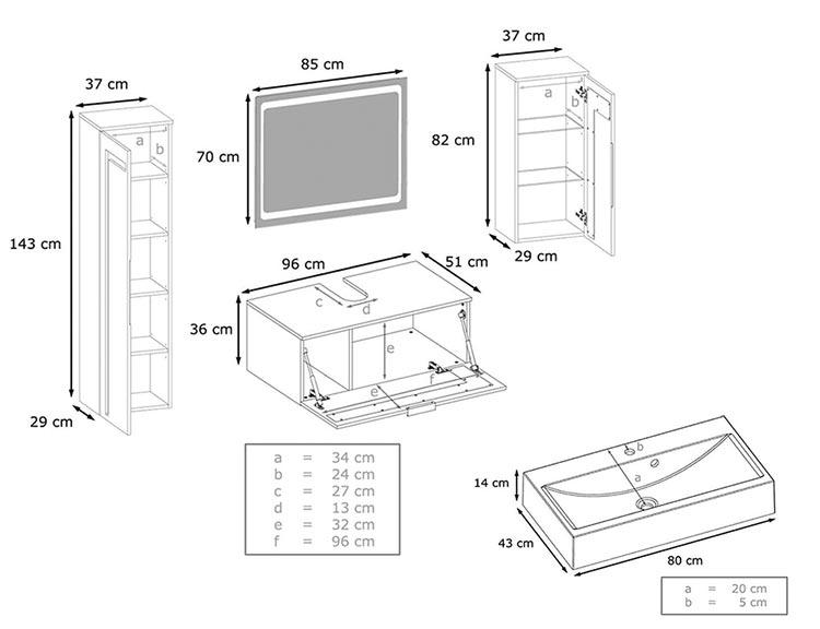 Mesures détaillées de la salle de bain complète