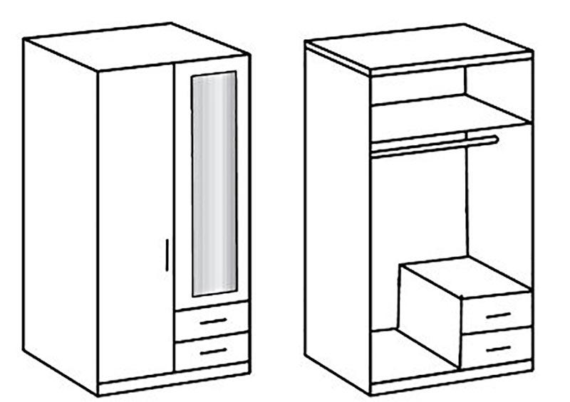 Armoire bois 2 portes