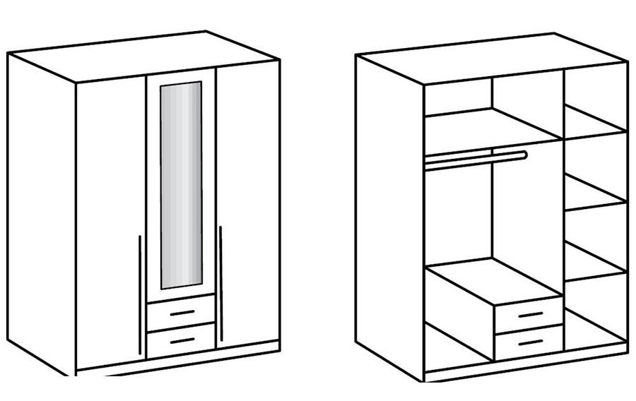 Armoire 3 portes blanche 135 cm
