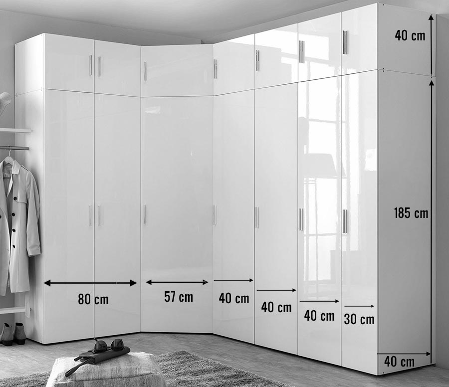 armoire d 39 angle dressing blanc brillant design cbc meubles. Black Bedroom Furniture Sets. Home Design Ideas
